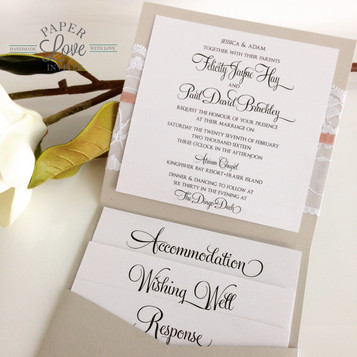 Paper Love Invites | Grey pearlescent pocket invitation with blush pink ribbon and white lace band