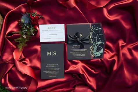 Paper Love Invites   Modern black and gold