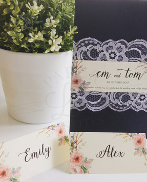 Paper Love Invites   Rustic Floral Lace Navy Pocket Invitations