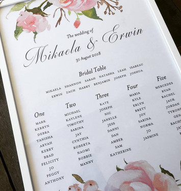 Paper Love Invites | Floral Seating Plan