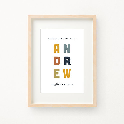 Colour Birth Print | Andrew