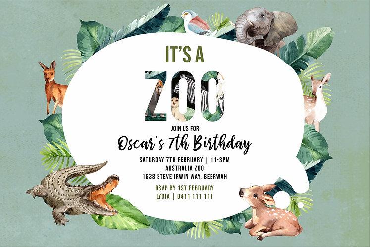 Kids Birthday Invitations   Zoo Animals