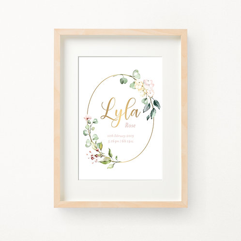 Gold Foil Floral Birth Print | Lyla