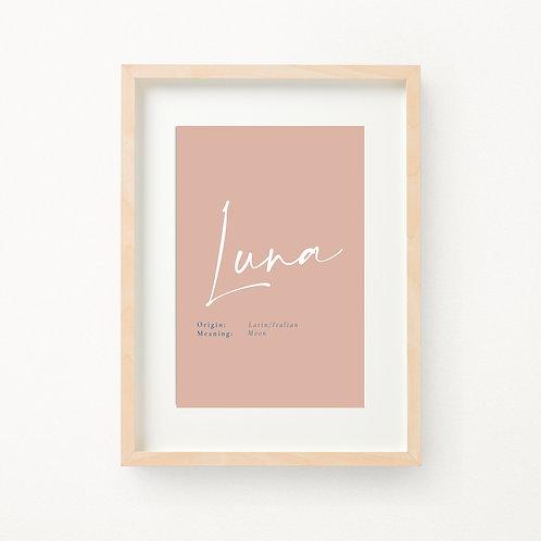 Script Birth Print | Luna