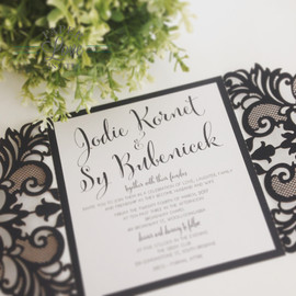 Paper Love Invites | navy laser cut invitations