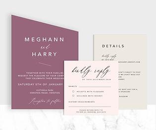 Modern angle shape wedding invitation suite