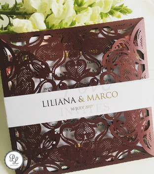 Paper Love Invites | marsala floral gold foil laser cut invitations
