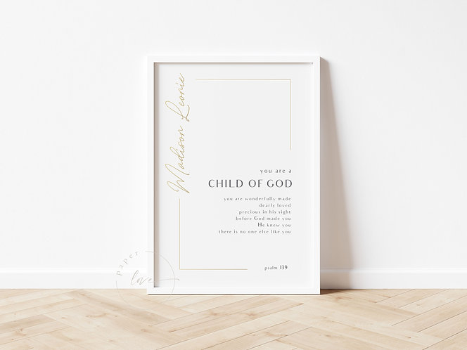 Inspired Prints   Personalised   Child of God