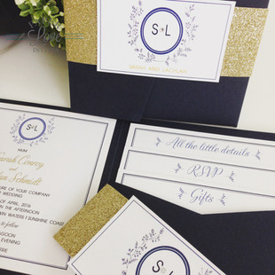 Paper Love Invites   Navy pocket invitation with gold foil and diamantes