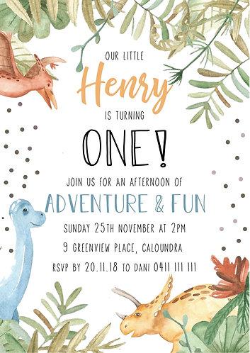 Kids Birthday Invitations | Dinosaurs