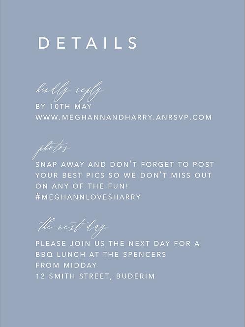 Wedding Details Card | Meghann