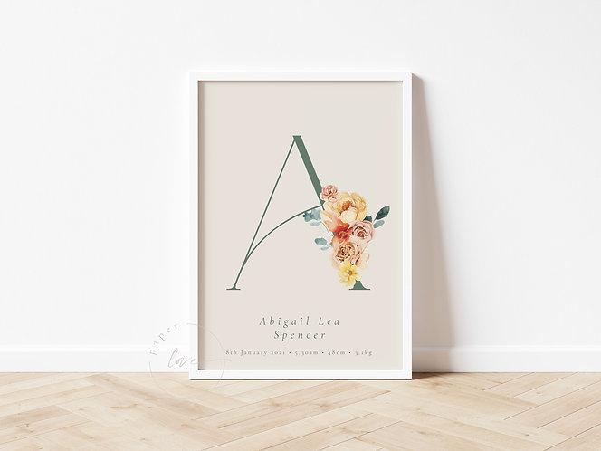 Boho Floral Initials Birth Print   Abigail