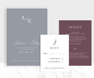 Modern leaf motif wedding invitation suite