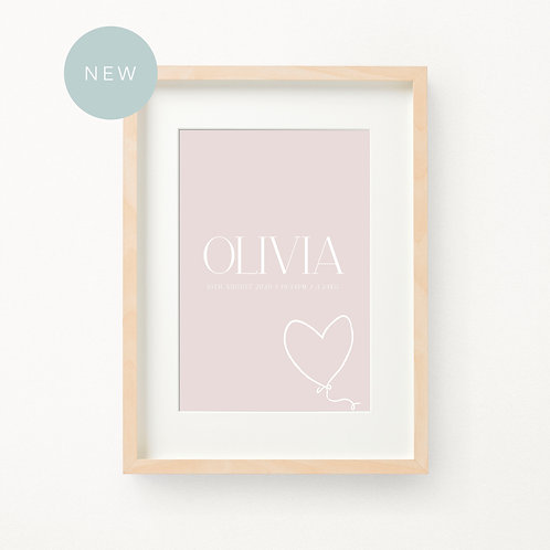 Heart Balloon Birth Print | Olivia