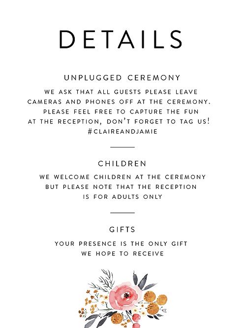 Wedding Details Card | Claire