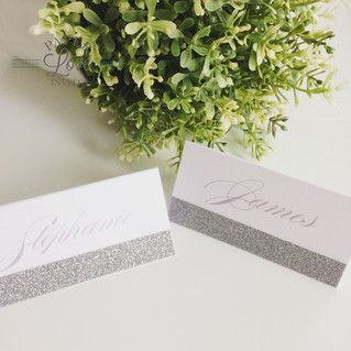 Paper Love Invites | pearlescent white with silver glitter tent style place cards