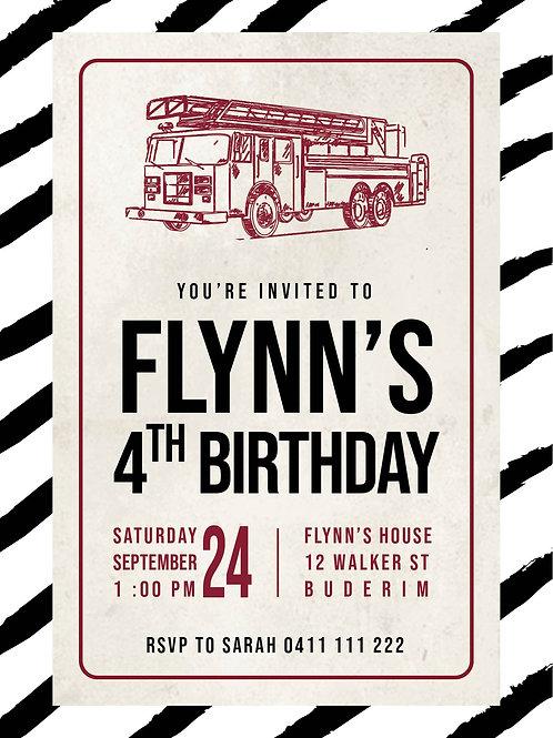 Kids Birthday Invitations | Fire