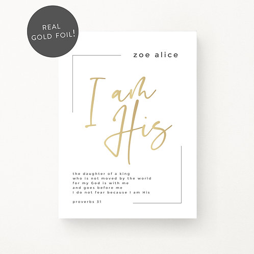 Inspired Prints | Personalised | I am His