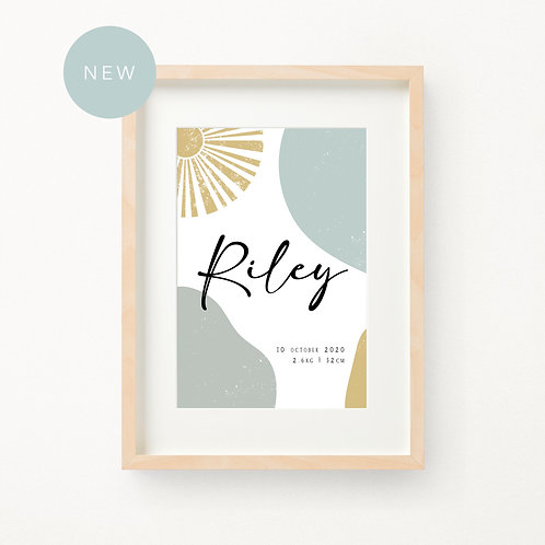 Ocean and Sun Birth Print | Riley