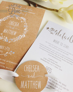 Paper Love Invites   Rustic brown invite with white and baby blue rustic floral wreath