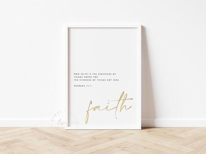Inspired Prints | Gold Foil | Hebrews 11:1 | Faith
