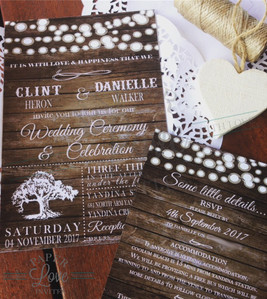 Paper Love Invites | Rustic doily string of lights invitation suite