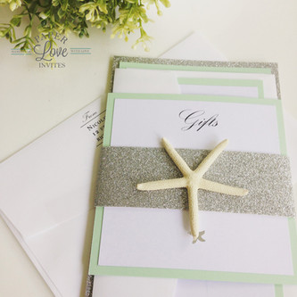 Paper Love Invites   mint beach themed invitations with silver glitter and silver foil