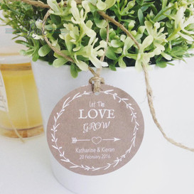 Paper Love Invites   Rustic round gift tags with white print and twine