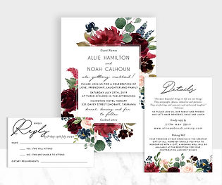 Burgundy and Navy florals invitation suite
