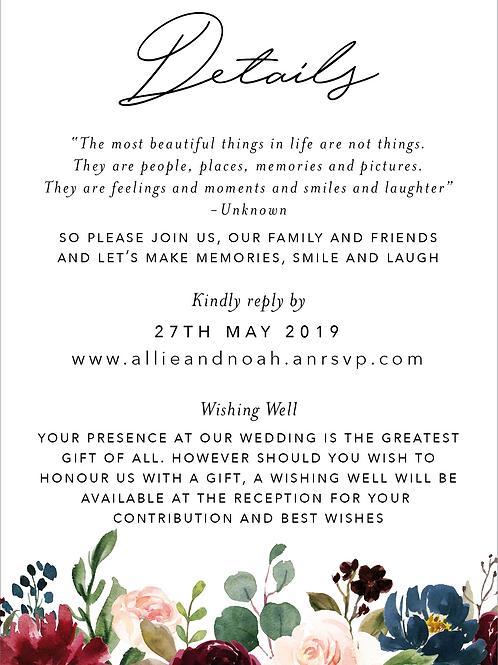 Wedding Details Card   Allie