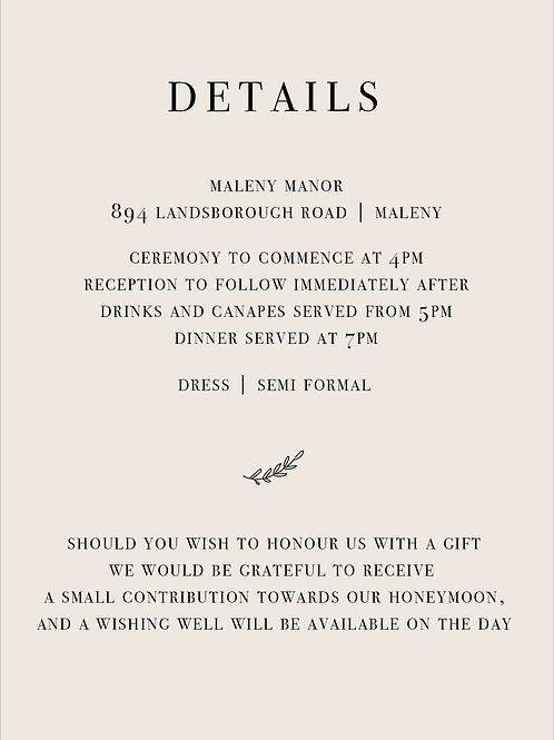 Wedding Details Card | Adaline