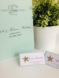 Paper Love Invites   matching tent style place cards and folder menus in mint with silver foil stars
