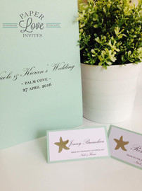 Paper Love Invites | matching tent style place cards and folder menus in mint with silver foil stars