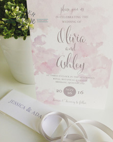 Paper Love Invites | Blush pink watercolour with grey print on textured white card