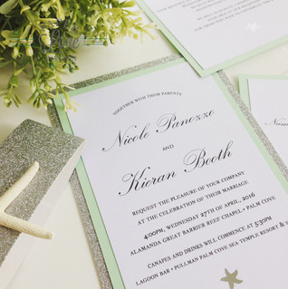 Paper Love Invites | mint beach themed invitations with silver glitter and silver foil