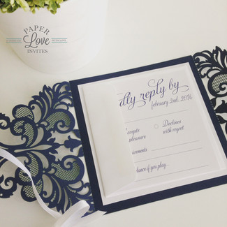 Paper Love Invites   navy laser cut invitations