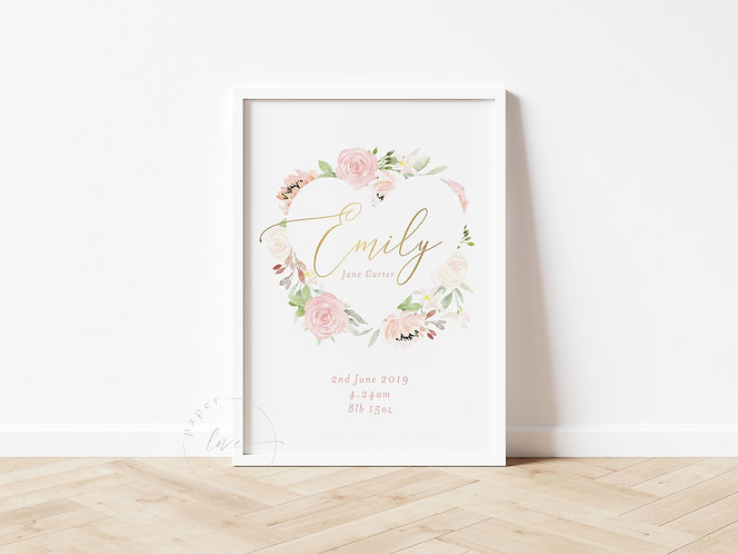 Gold Foil Floral Birth Print | Emily