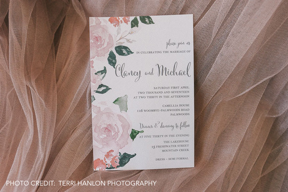 Paper Love Invites   wedding invitations with watercolour pink roses