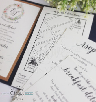 Paper Love Invites | Map | Rustic Floral Lace Navy Pocket Invitations