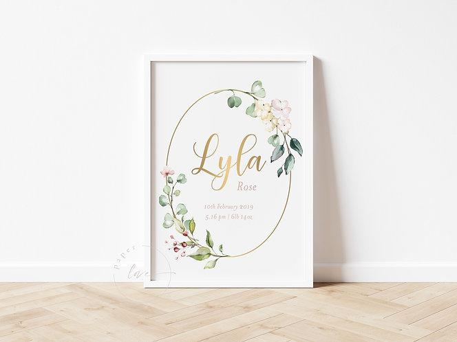 Gold Foil Floral Birth Print | Lyla