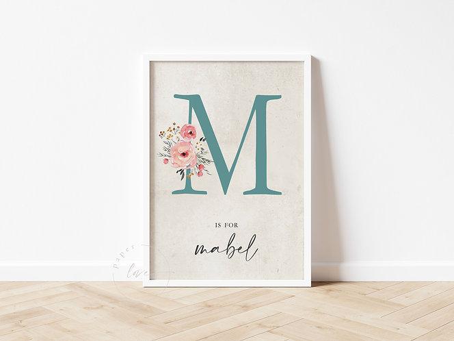 Floral Initial Birth Print | Mabel
