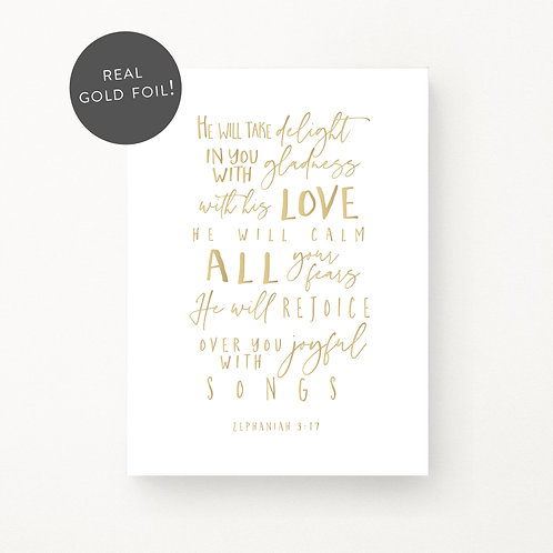 Inspired Prints | He will take delight | Gold Foil