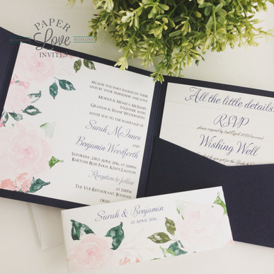 Paper Love Invites   Navy pocket invitation with pink watercolour roses