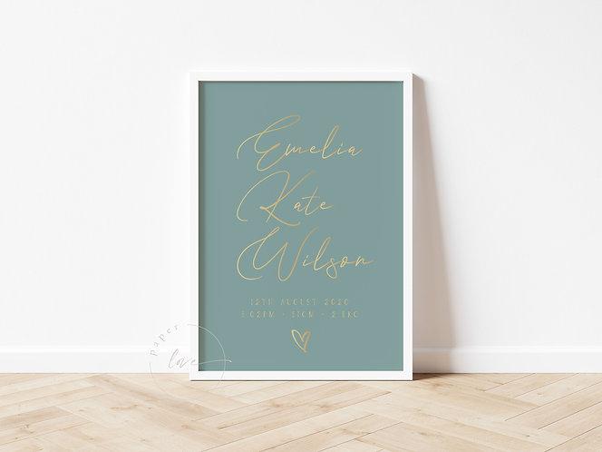 Gold Foil Script Birth Print | Emelia