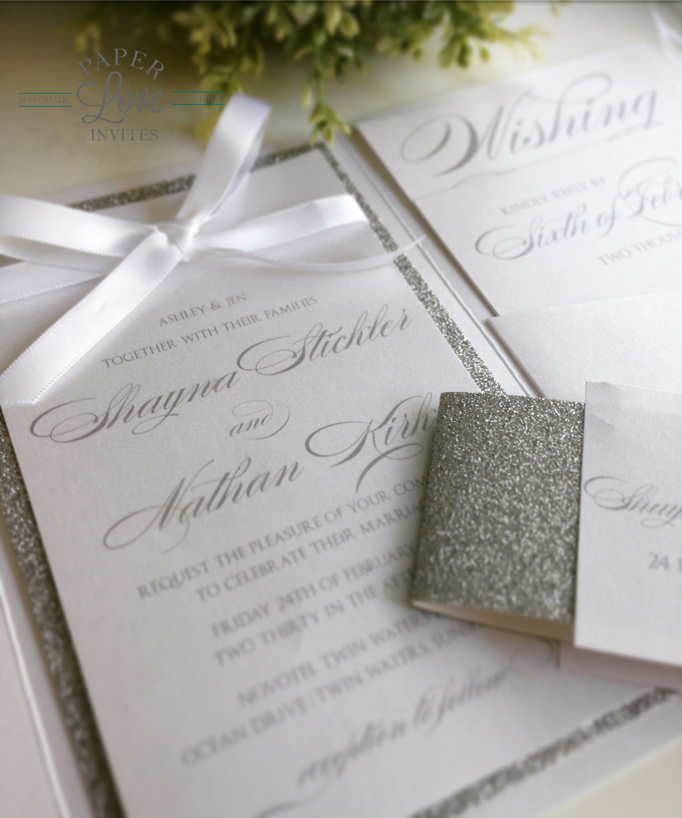 Paper Love Invites | Pearlescent white pocket invitations with ...