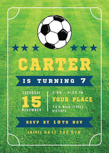 Kids Birthday Invitations   Soccer Mad