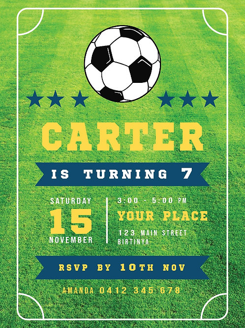 Kids Birthday Invitations | Soccer Mad