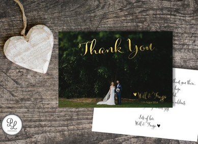 Paper Love Invites | Gold foiled photo thank you card