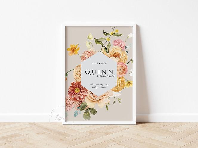 Boho Floral Birth Print   Quinn