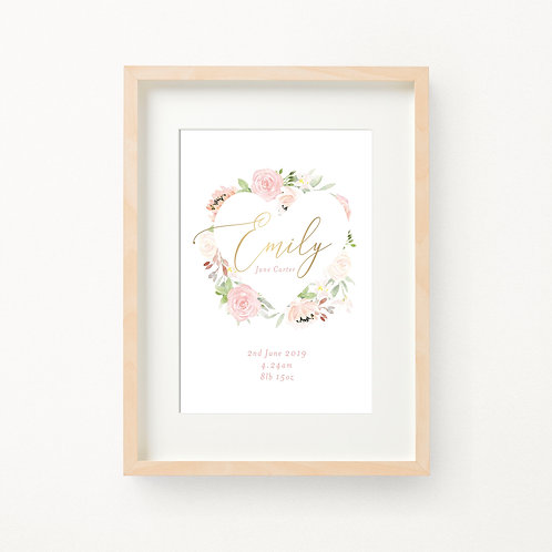 Gold Foil Floral Birth Print   Emily